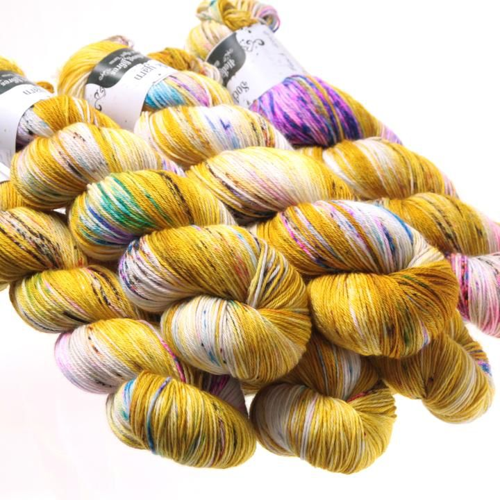 Hedgehog Fibres Hand Dyed Yarns Sock Yarn, Fool's Gold