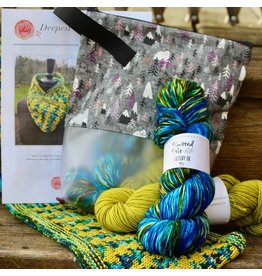 For Yarn's Sake, LLC Deepest Water Cowl Kit: Golden Delicious Yarn with Pink Charm Keeper bag
