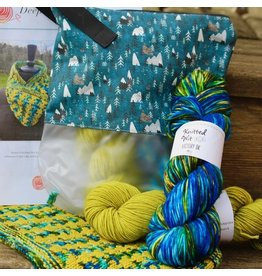For Yarn's Sake, LLC Deepest Water Cowl Kit: Golden Delicious Yarn with Blue Charm Keeper bag