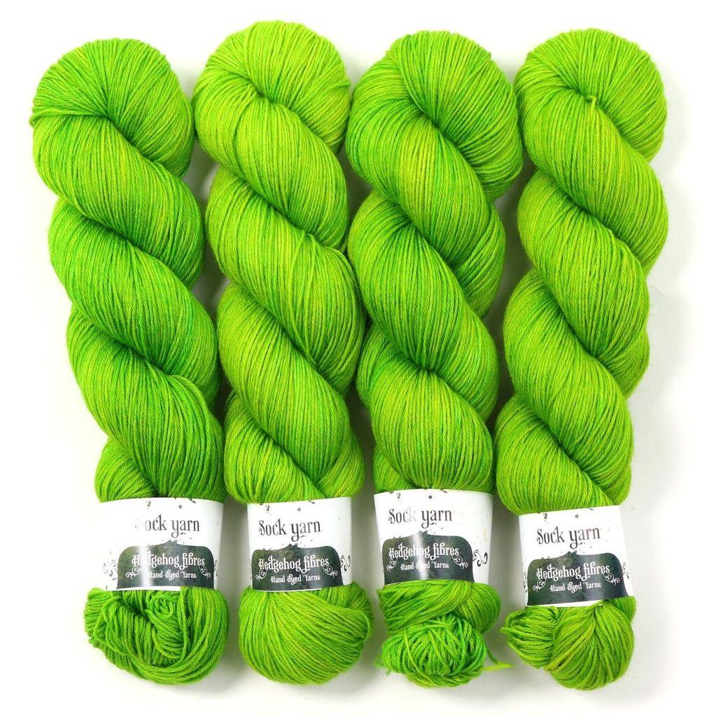 Hedgehog Fibres Hand Dyed Yarns Sock Yarn, Shamrock