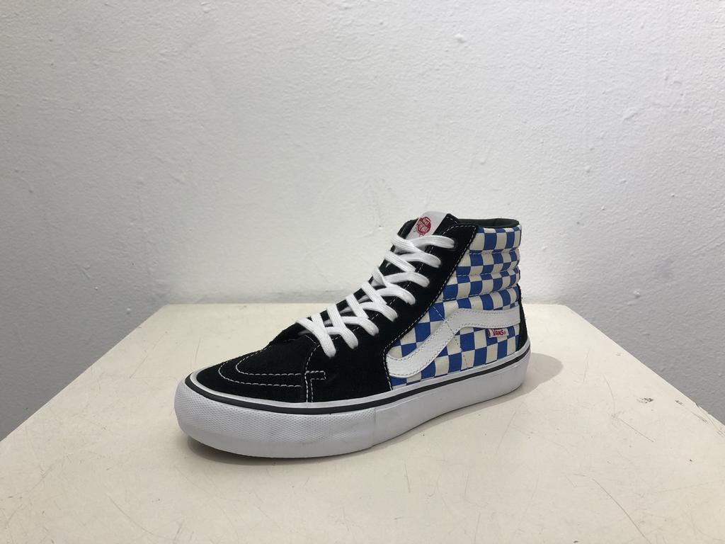Vans Sk8 Hi Pro Shoe - Black/Blue/Checkers