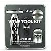 Rabbit 4pc Wine Tool Kit w/ Self-pulling Corkscrew (Silver)