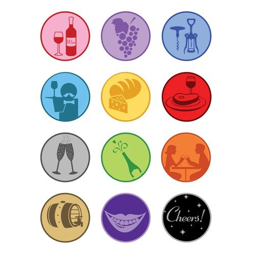 Wine Themed Static-Cling Wine Stickers