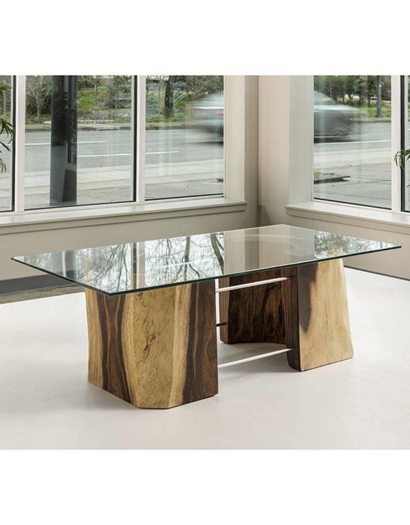 "Acacia Freeform Glass Top Coffee Table 24"" x 48"""