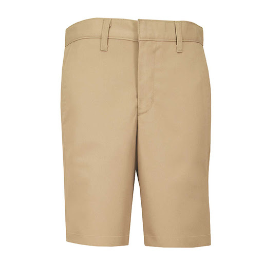 Boys Slim Plain Front Twill Short w/ Adjustable Waistband (7099S) Khaki