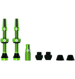 Muc-Off Muc-Off Tubeless Valve Kit: Green, fits Road and Mountain, 44mm, Pair
