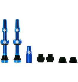 Muc-Off Muc-Off Tubeless Valve Kit: Blue, fits Road and Mountain, 44mm, Pair