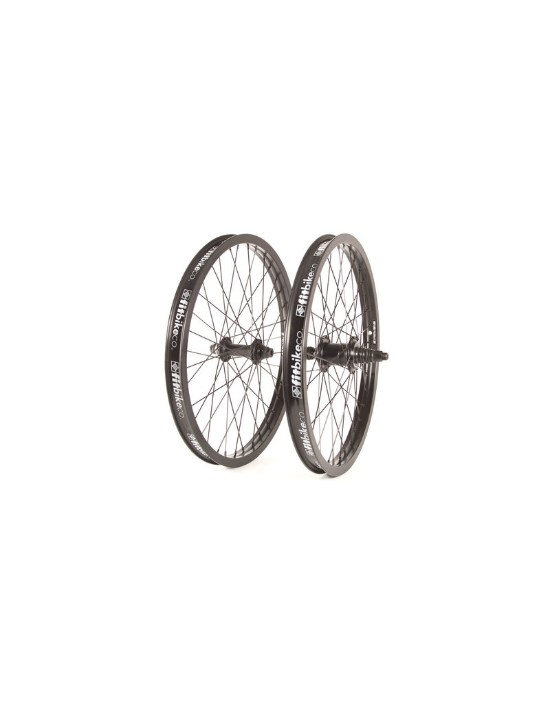 """Fit Bike Co 20"""" FIT Freecoaster Wheel Set Right Side Drive, Double Wall. Male 14mm R, Female 3/8"""" F. All Black"""