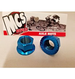 MCS MCS Steel Axle Nuts Blue 14mm