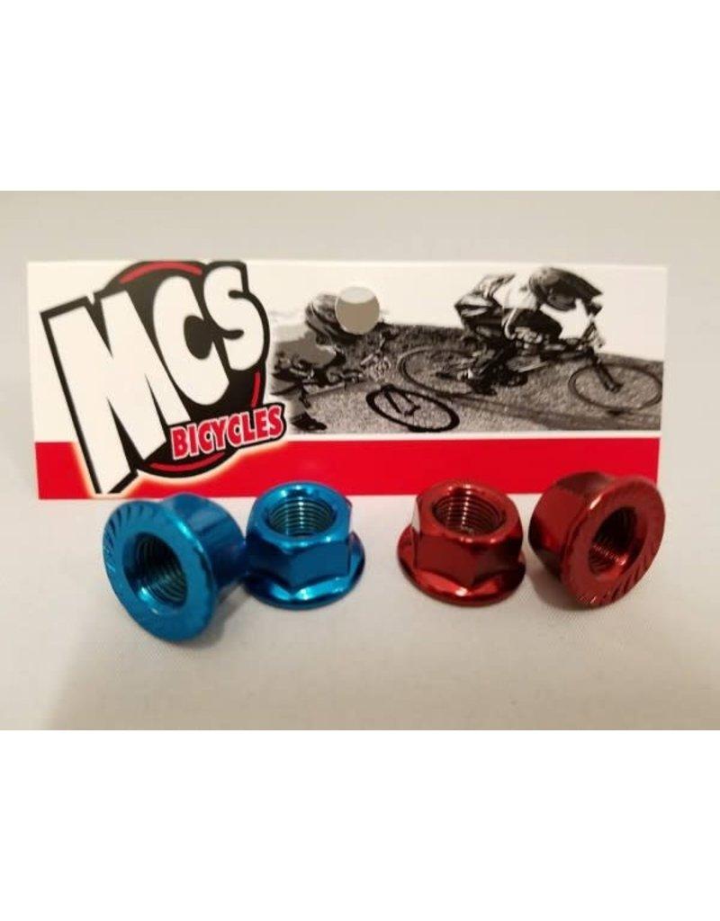 """MCS MCS Steel Axle Nuts Blue 3/8"""""""