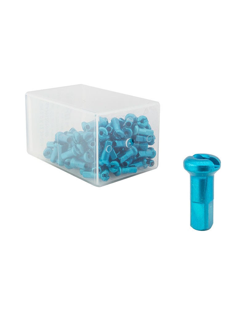 DT Swiss Spoke Nipples 2.0x12mm Turquoise Box of 100
