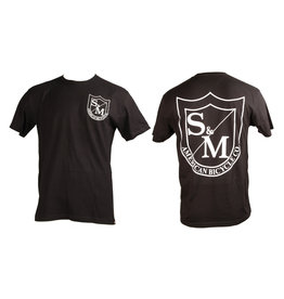 S & M S&M Big Shield T-Shirt Front/Back White on Black XL