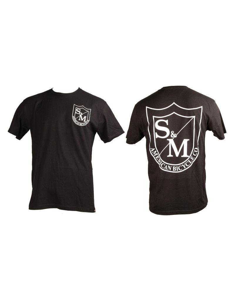 S&M S&M Big Shield T-Shirt Front/Back White on Black XL