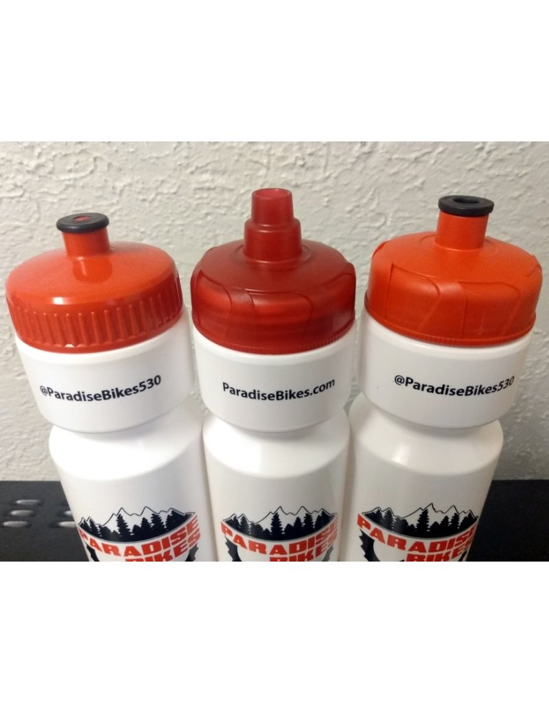Paradise Bikes Shop Water Bottle, Red Top, 25oz