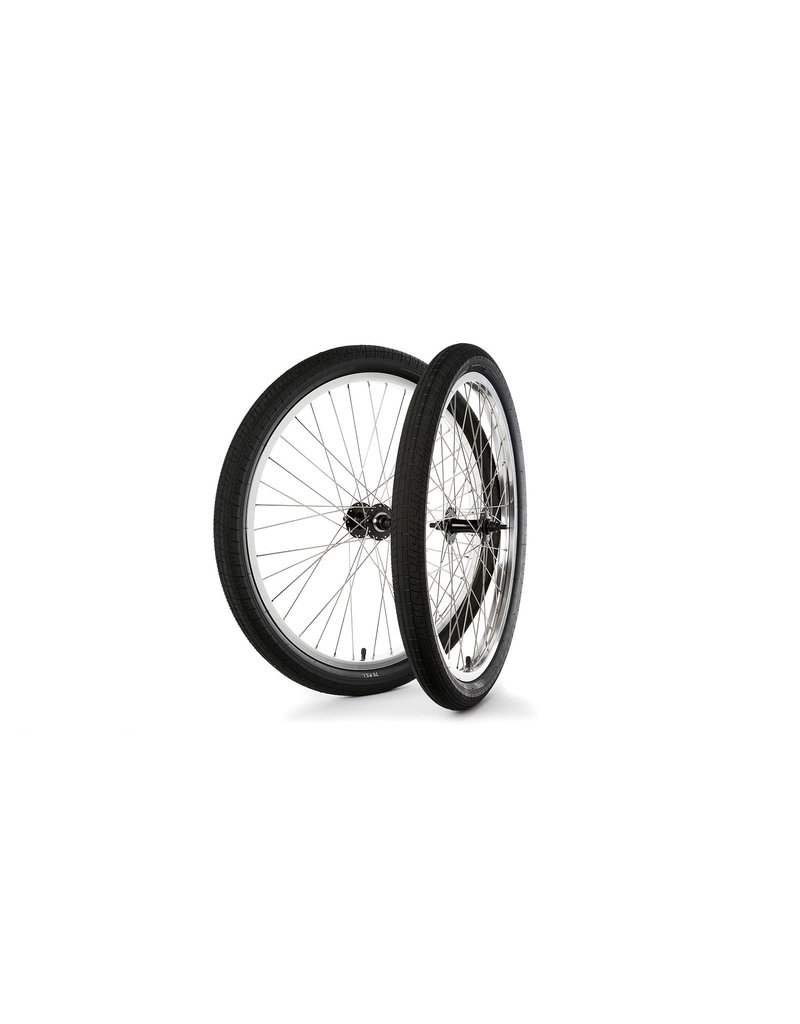 "S&M 26"" Covid Cruiser Wheelset Silver Rims w/Black Hubs & Black Tires"