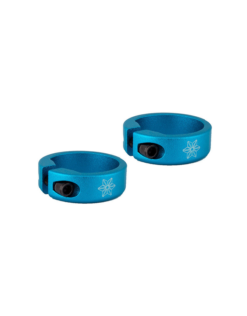 Supacaz Lock On Grip Clamp Rings Blue Anodized. Includes Pair