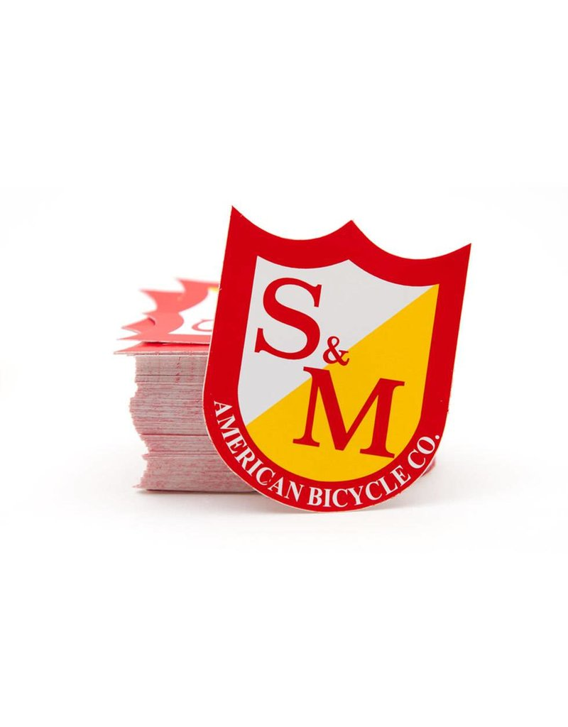S&M MED SHIELD STICKERS, RED/YELLOW, 100 PACK