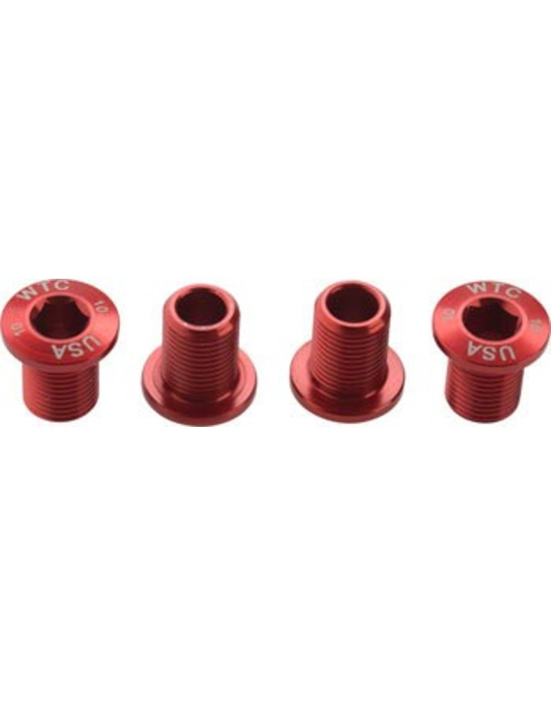 Wolf Tooth Components Wolf Tooth Set of Chainring Bolts for 104 x 30T rings (10 mm long) 4-Pieces, Red