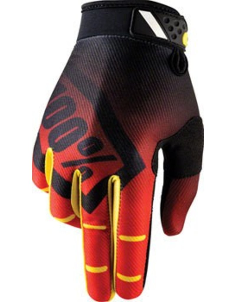 100% 100% Ridefit Full Finger Glove: Corpo Red MD