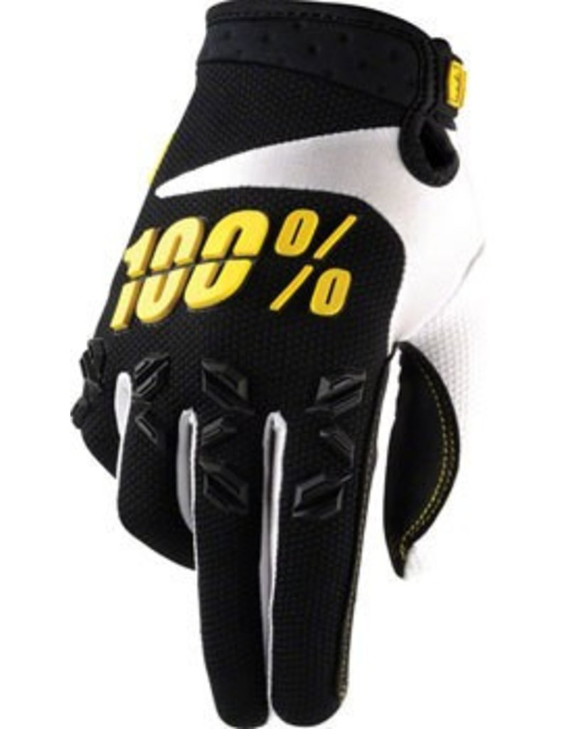 100% 100% Airmatic Full Finger Glove: Black/Yellow SM