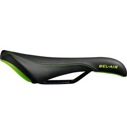 SDG SDG Bel-Air Saddle: Steel Rails, Black Synthetic Top & Sides, Green Stitching Logos, Black Rails