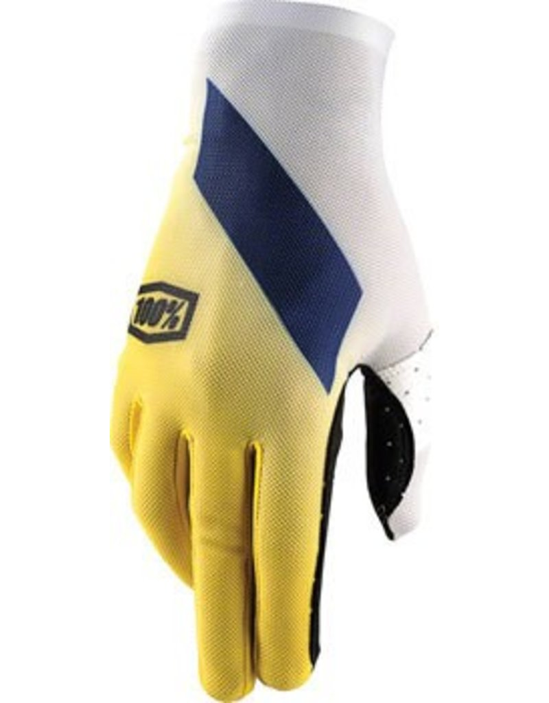 100% 100% Celium Full Finger Glove, Slant Yellow, LG