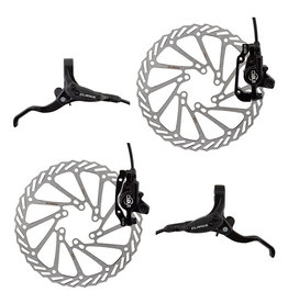 Clarks Clarks Clout-1 Hydraulic Brake Set Front & Rear w/Levers 160/180 Rotors, Black