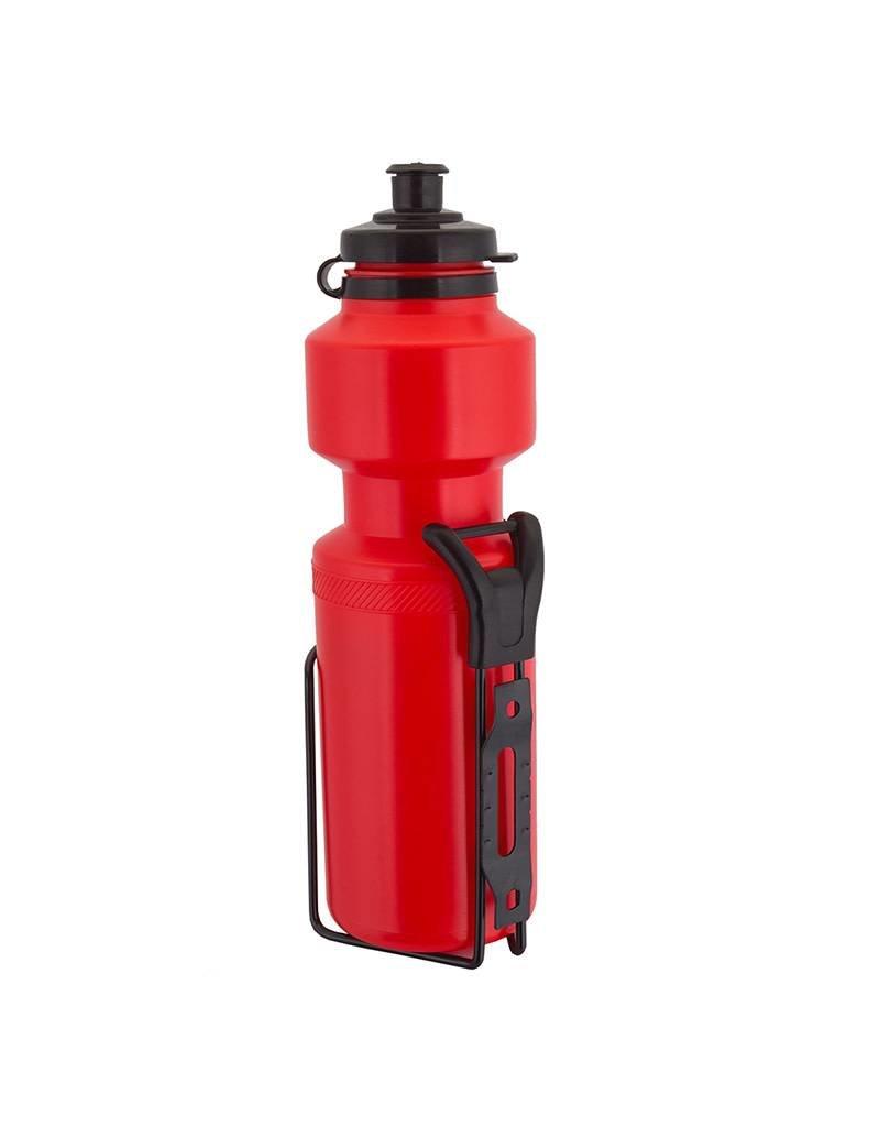 Sunlite Water Bottle 25oz w/Steel Cage Red