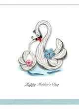 Quilling Card Mother's Day Swans