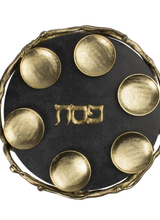 Quest Collection Black & Gold Marble Seder Plate