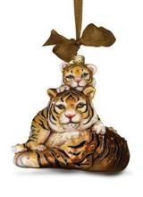 Jay Strongwater Mother & Baby Tiger Glass Ornament - Natural