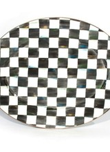 Mackenzie-Childs A welcome gift for the Courtly Check® collector, the Courtly Check® Large Oval Platter is a great addition to the dinner or buffet table. Hand-painted checks reveal a spectrum of accent colors. Steel underbody and bronzed stainless steel rim.