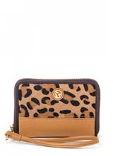 """Spartina -Genuine leather with calf hair/leopard print detail and mermaid medallion<br />-Removable leather wrist strap<br />-Exterior zip pouch<br />-Zip enclosure<br />-Jacquard interior lining<br />-Nine card slots plus I.D. window<br />-Interior phone pocket, 3"""" x 3.75""""<br />-Interior bill pock"""
