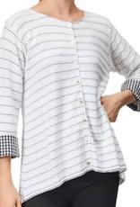 White Cardigan with Black Stripes