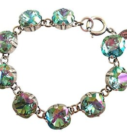 Silver Plated Bracelet, Ocean Green Crystals
