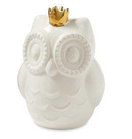Mud Pie Owl W/Gold Crown Bank