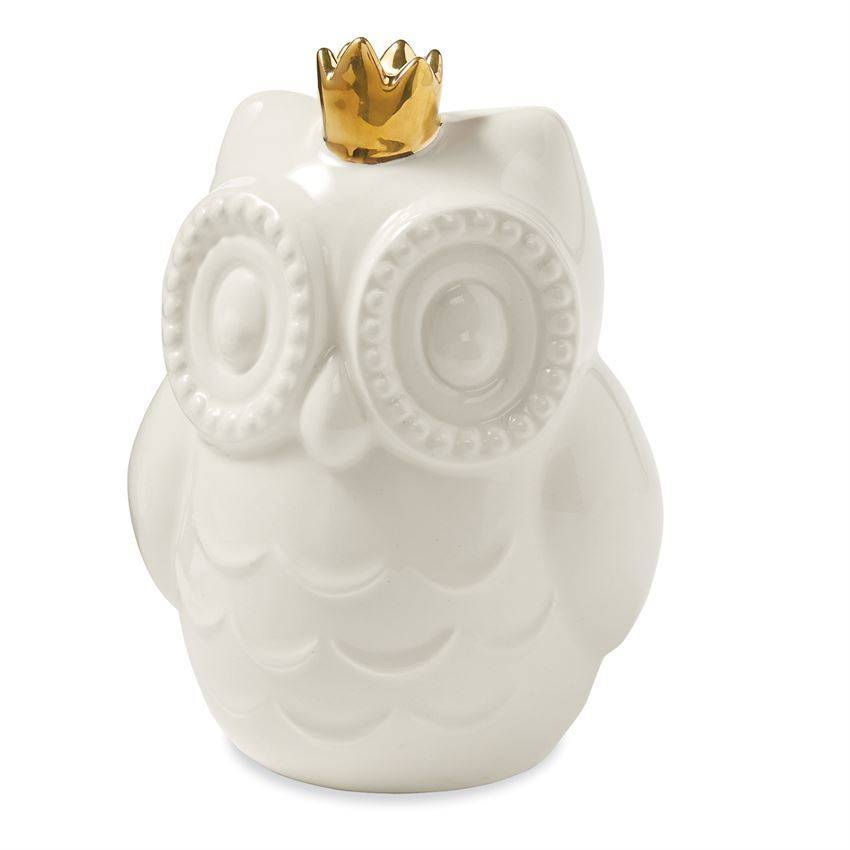 Mud Pie Owl W/Gold Crown Bank
