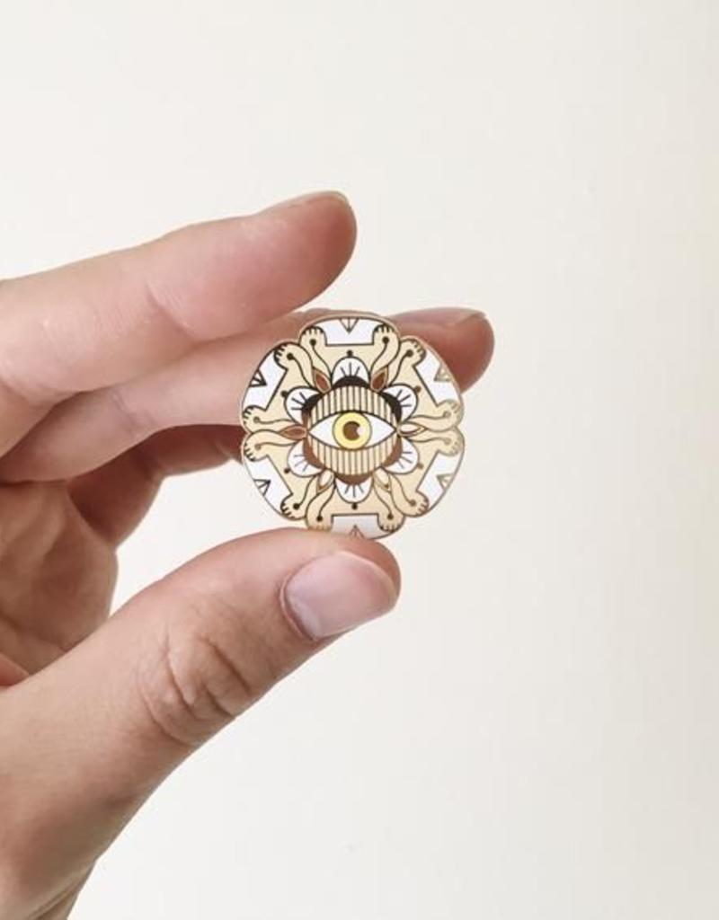 Paper Shuttle Floral Evil Eye Enamel Pin