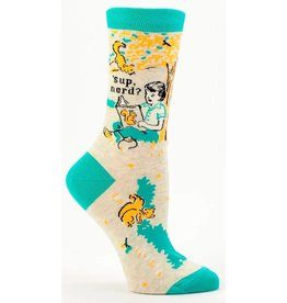 Blue Q Sup Nerd? Women's Crew Socks