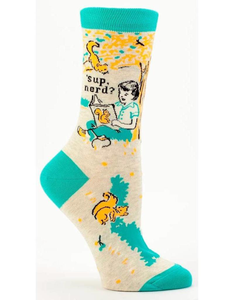 Blue Q Sup Nerd? Women's Crew Socks