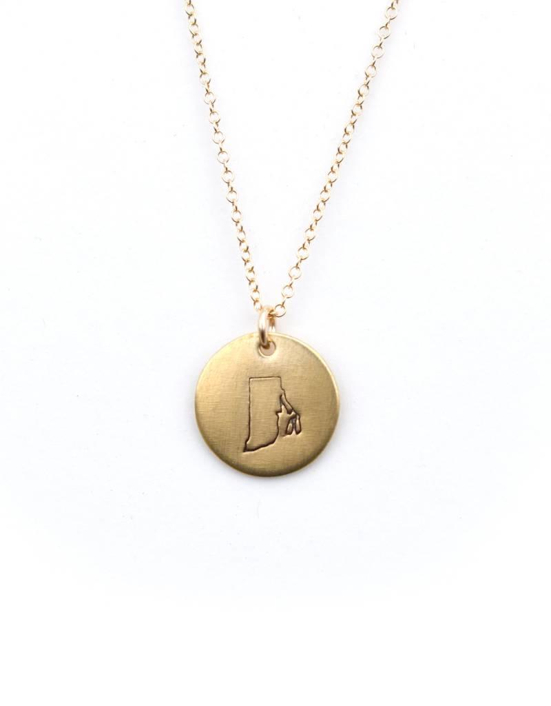 Crafts & Love Handstamped 14k Gold Rhode Island Charm Necklace