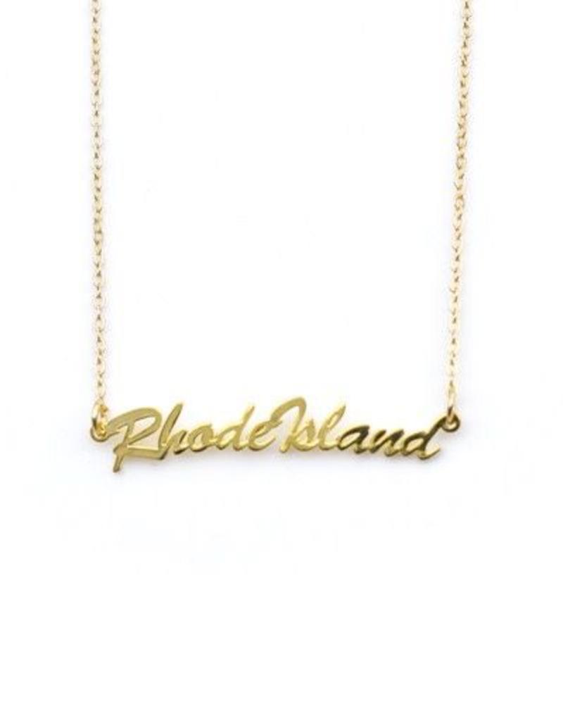 "Encore Fashion Group Brass Script ""Rhode Island"" Necklace"