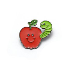 Lucky Horse Press Apple & Worm Buddies Enamel Pin