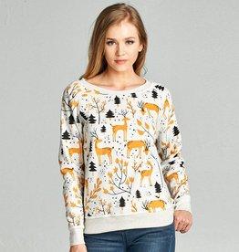 LA Soul Deer Print Sweatshirt