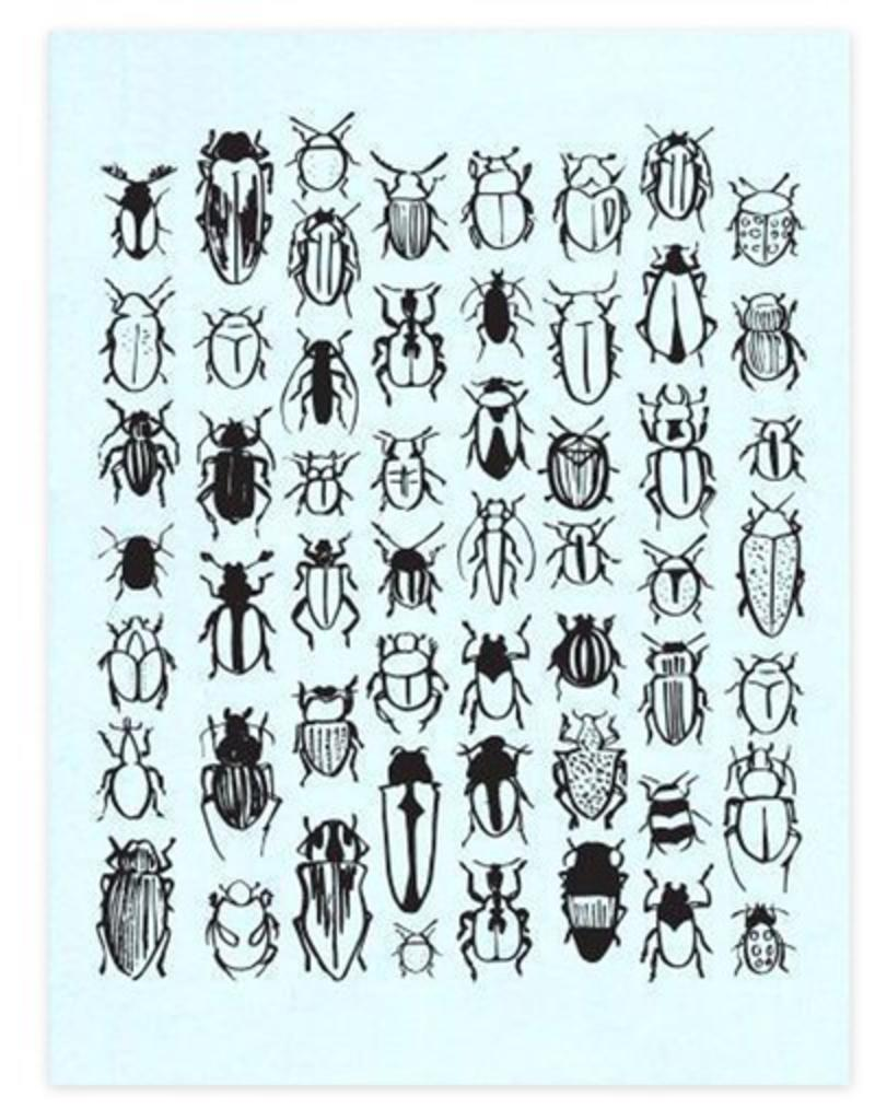 And Here We Are Beetle Pattern Letterpress Print