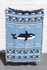 Forest and Waves Orcas & Surfers Blanket