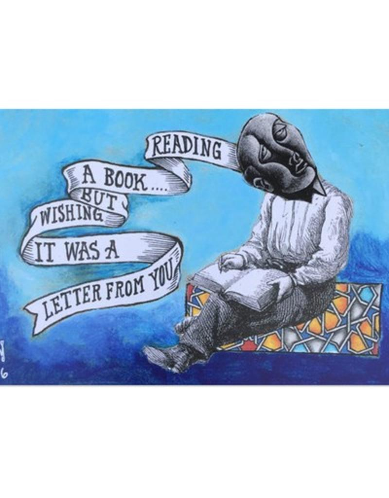 Frog & Toad Press Reading a Book But... Wishing it Was a Letter From You Postcard