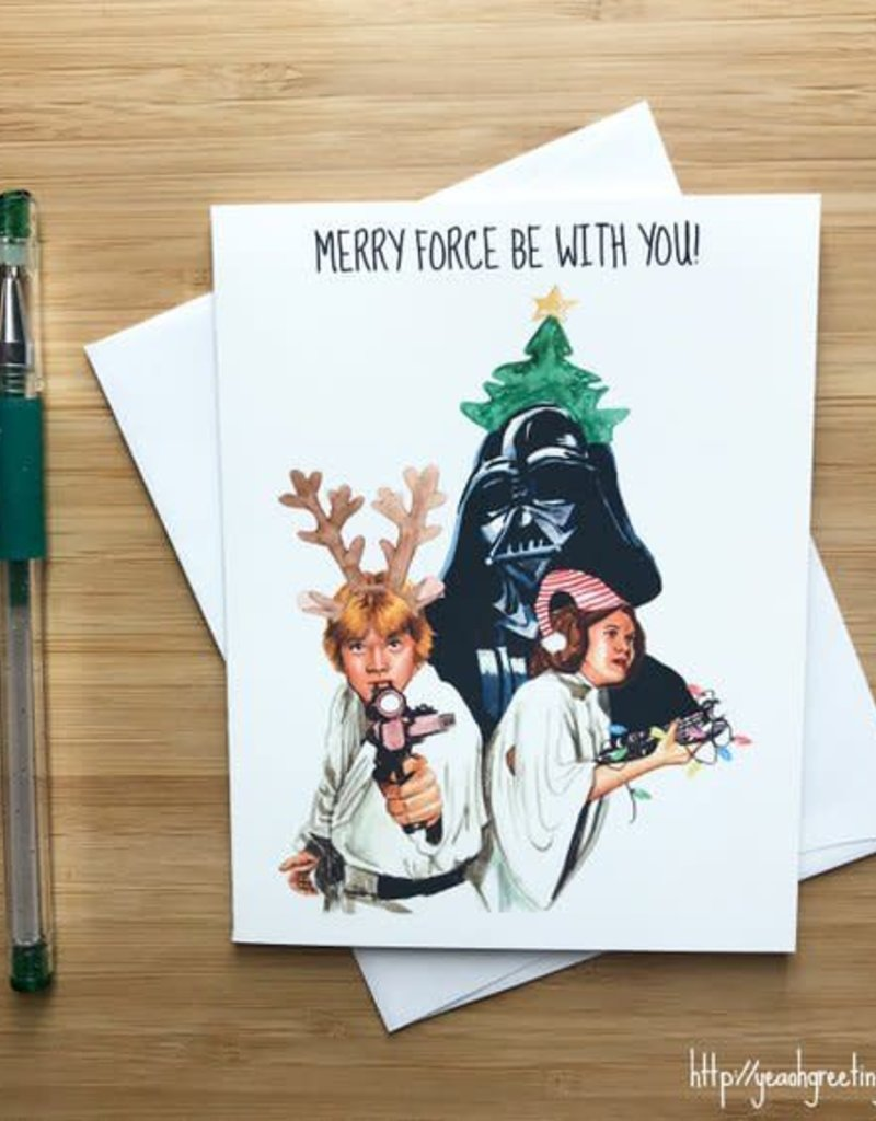 YeaOh Greetings Merry Force Be With You Star Wars Christmas Greeting Card