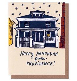 La Familia Green Hanukkah House Providence Greeting Card