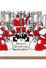 La Familia Green Commuting Santas (NYC) Holiday Card